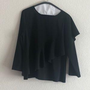 Zara Black Front & Back Ruffle Top M